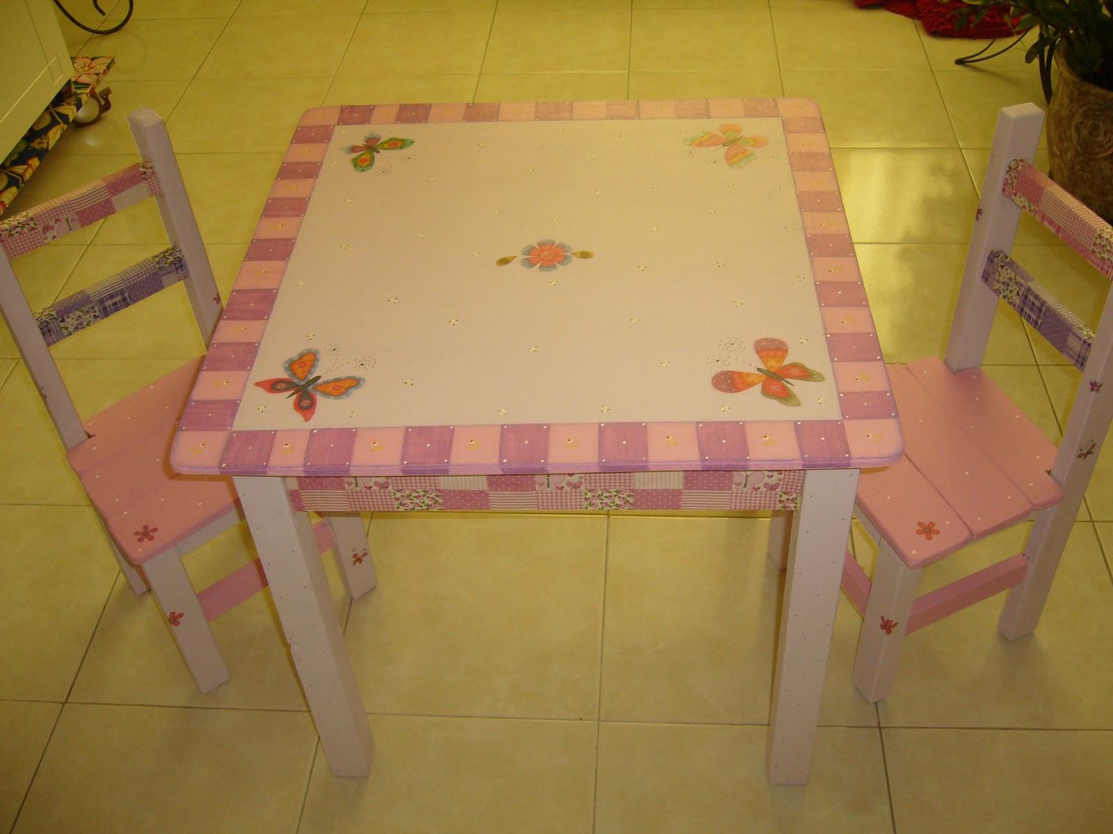 Bonekinha de Lata : Mesa Infantil Rosa/Lilas com aplicacão de tecido #341F08 1600x1200