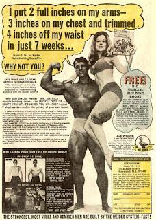 comic book ad featuring Arnold Schwarzenegger