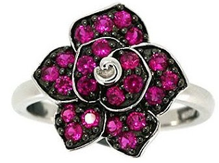 Created Ruby Flower Ring in Sterling Silver