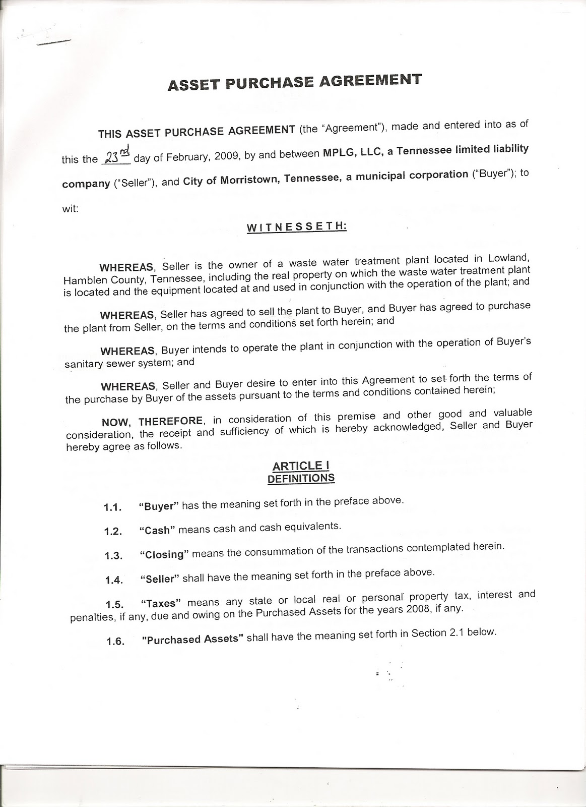 noe4accountability November 21 2010 The Lowland Asset Purchase – Asset Purchase Agreements