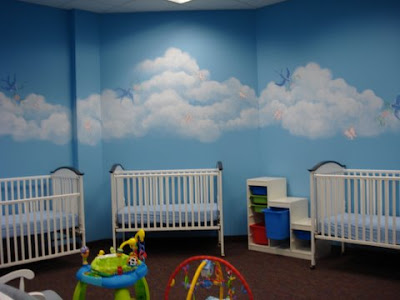 Margie whittington art sagamore church nursery murals for Church mural ideas