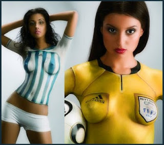 sexy supermodel body painting fooball uniform