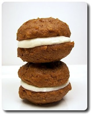 Mini Pumpkin Whoopie Pies with Cream Cheese Filling