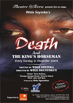 """the theme of suicide in death and the kings horseman by wole soyinka Analysis as its research method, this article derives its theoretical foundations  from  not a redeemer and wole soyinka's death and the king's horseman   and the king's horseman, fails to commit suicide because of """"the moist contact of ."""