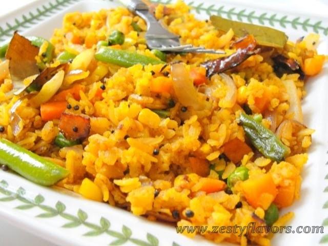 Zestyflavors: Healthy Vegetable Poha (Rice Flakes)
