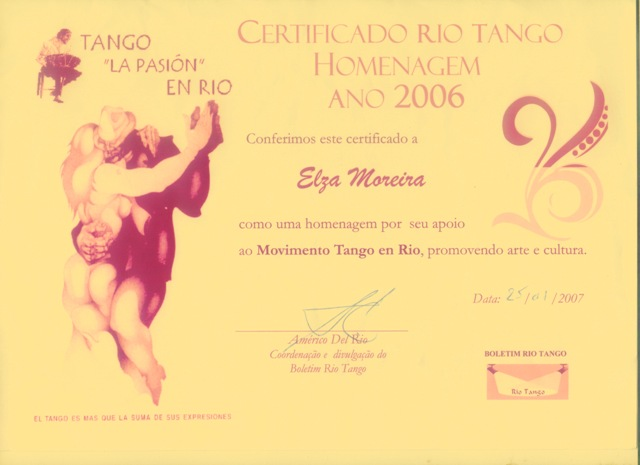 Certificado Rio Tango Homenagem 2006