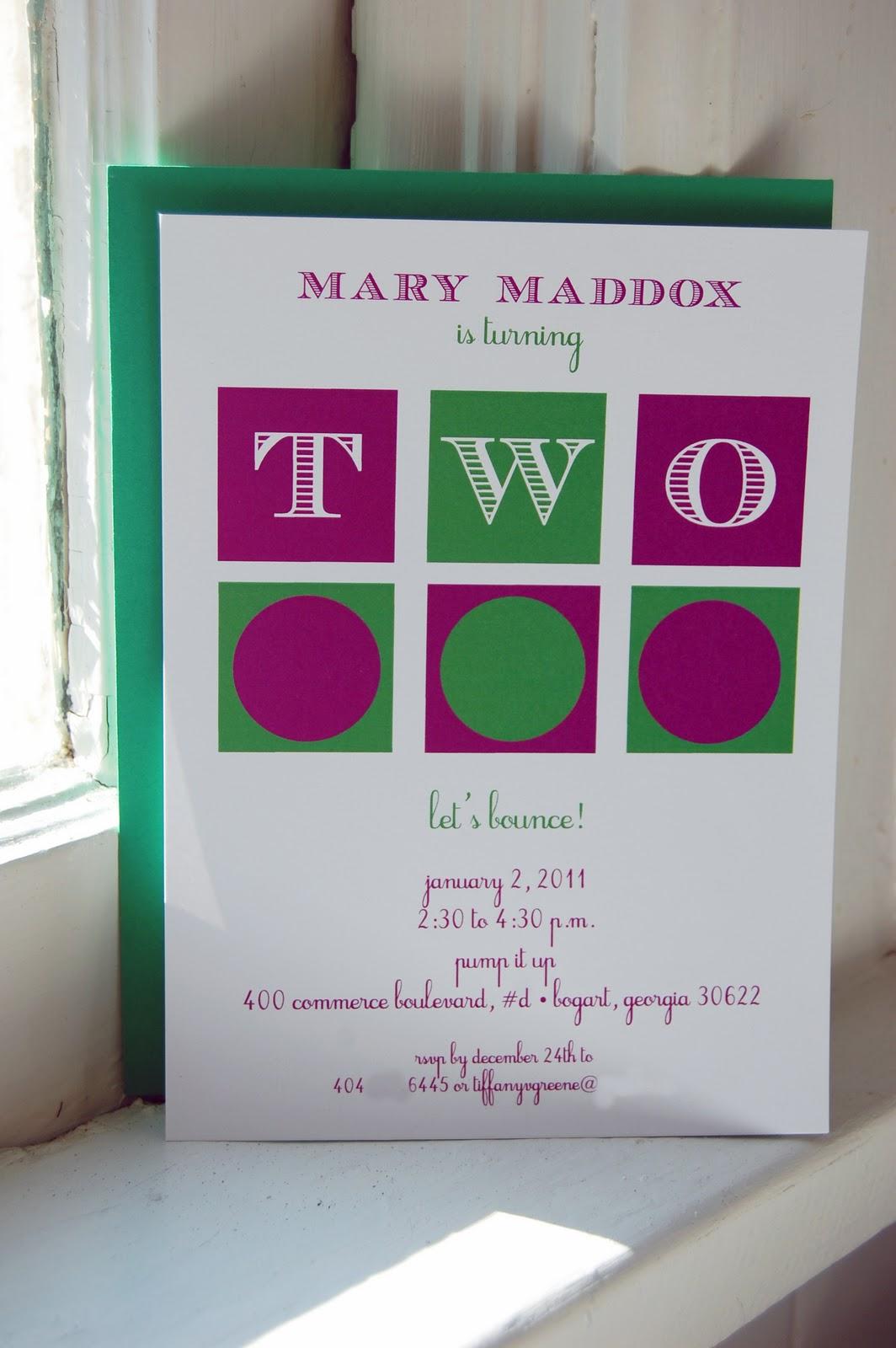 mary maddox\'s 2nd birthday party invitation suite   Calliespondence