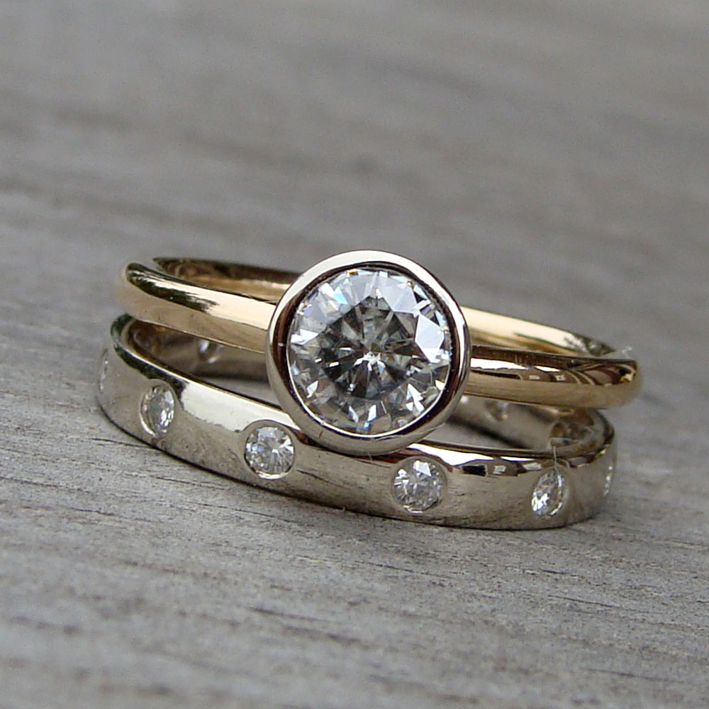Who's To Say You Can't Pair A Radiant Rose Gold Engagement Ring With Stunning Platinum Wedding Band No Bride Should Have Choose Just One Metal: Mismatche Silver And Gold Wedding Bands At Websimilar.org
