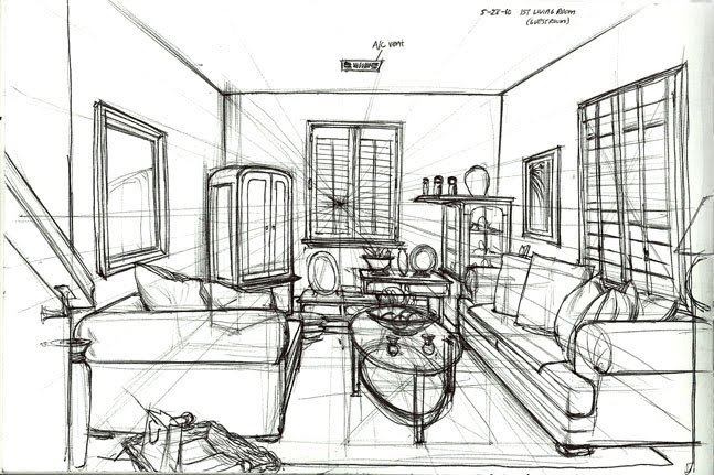 Www arcade28 com sketchbook perspective 002 - One point perspective living room sketch ...