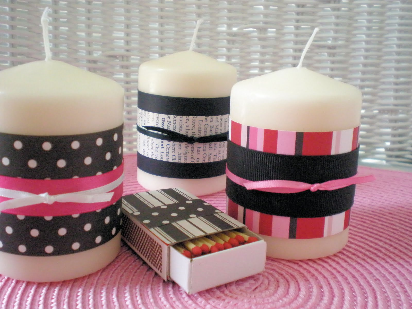 Kids craft decorated candles and matches mothers day for Candle craft ideas