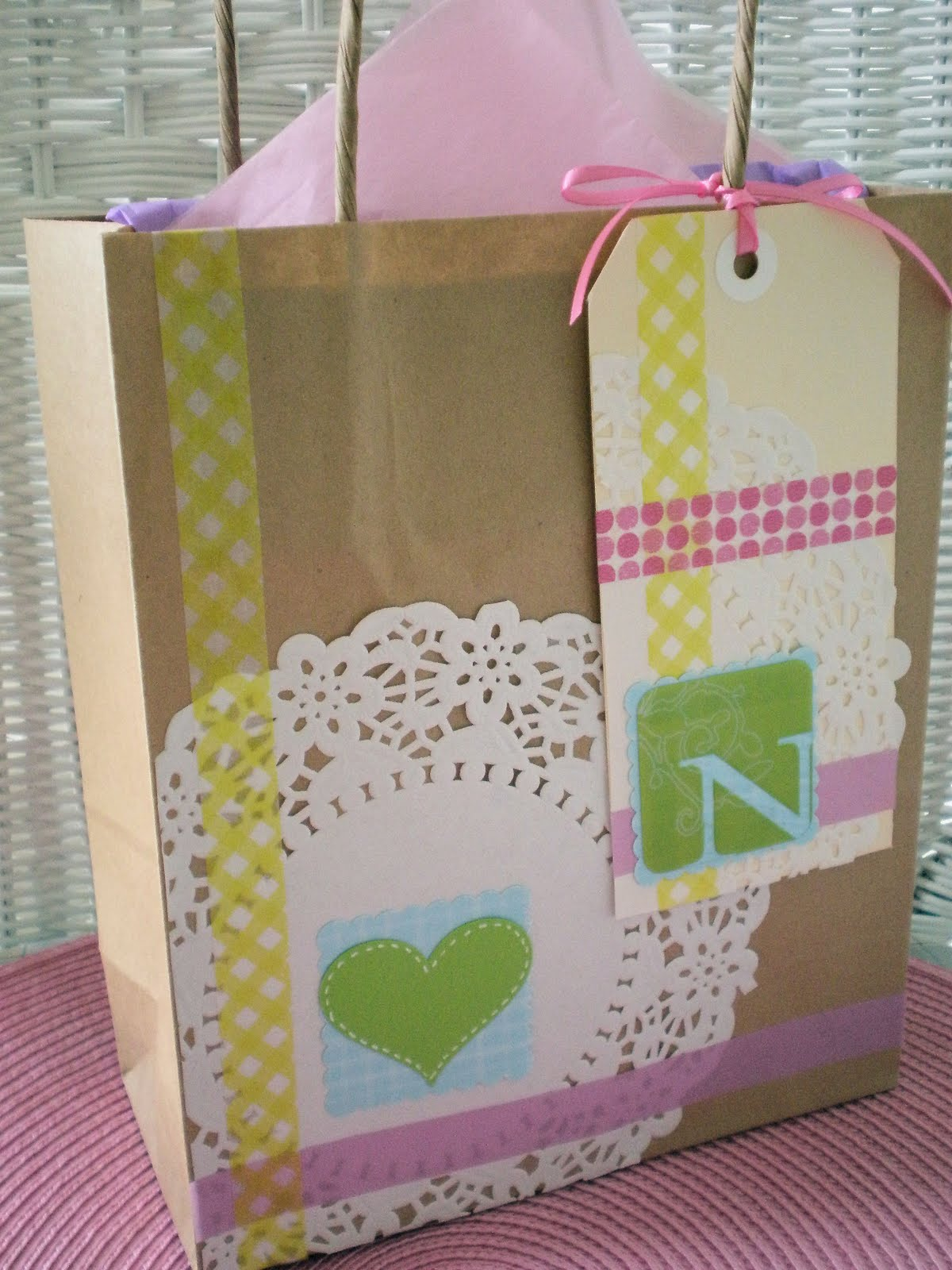 Kids craft decorated candles and matches mothers day for Craft paper gift bags