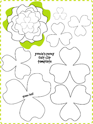 Yoonie at home peony flower felt clip tutorial template right click and save as the template print on an a4 piece of paper enlarge as you please i wont recommend you to reduce the size since the smallest mightylinksfo