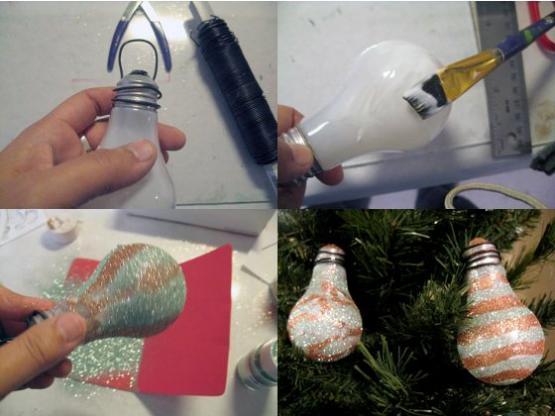 decoracao em lampadas:Bellart Atelier: Enfeites de Natal em artesanato reciclado