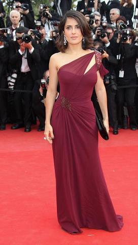 salma hayek movies 2010. Salma Hayek wore a Bordeaux