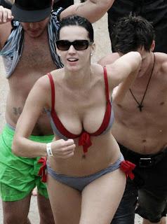 Katy Perry busty in bikini at Atlantis Paradise Island