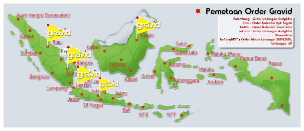 Pemetaan Order ( Daerah Pemesan yang pernah pesan ke Percetakan Gravid )