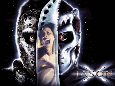 photo poster wallpaper. Movie poster wallpaper of horror film jason x