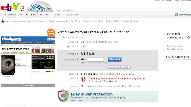 Parent selling their child's verbal commitment on eBay