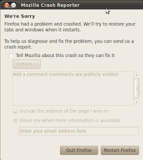 mozilla firefox crashed suddenly