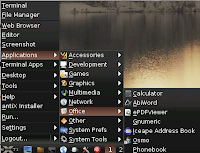 Office applications menu on antiX Linux operating system