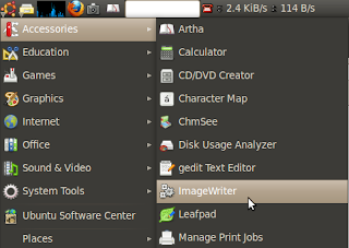 image writer program in ubuntu main menu