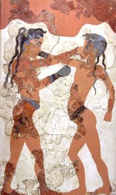 Fresco minoico de dos niños practicando boxeo hallado en Akrotiri