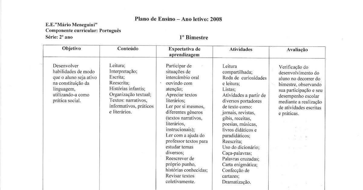 Amado Alfabetização e Cia.: EXEMPLOS: PLANO DE ENSINO - 2º ANO VV29