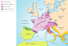 Mapa del imperio carolingio