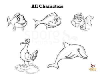 Fish, Dolphin, seagull, Erik X Raj