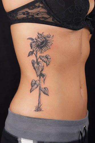 flower tattoo rib cage. Sunflower Tattoo on Rib Cage