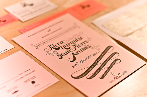 Pink gold wedding invitations Em for Marvelous