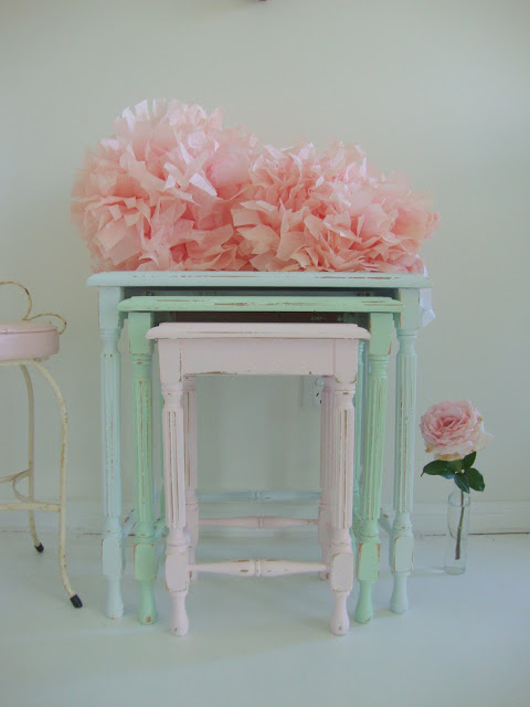Shabby Chic Nesting Tables ~ Paint me white nest of tables loads colour