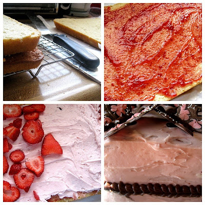 Vanilla Cake with Strawberry Cream Frosting | cake recipes | birthday cake | strawberry layer cake | perrysplate.com
