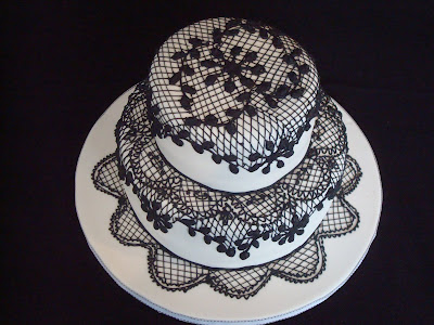 Old World Lace Wedding Cake
