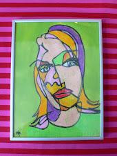 Sådan tegner du sjove portrætter med fedtfarver og Ecoline.