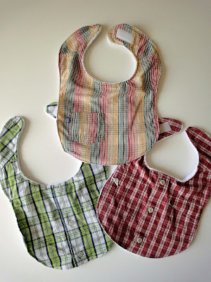 Shirt bib examples: green plaid, red plaid, and red, yellow and green plaid