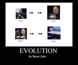 Mac motivational, demotivational, poster, evolution by steve jobs, iphone to ipad, macbook to huge laptop