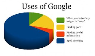 uses of google when you are too lazy to type in .com finding porn finding usefull information spell checking, charts, google funny
