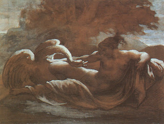 Painting of Leda and the Swan. Zeus disguised as a swan rapes Leda who bears him Helen of Troy.