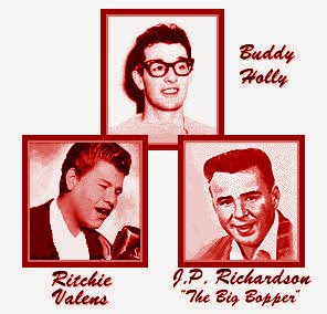 portraits of Buddy Holly, Ritchie Valens, and The Big Bopper