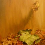 falling leaves painted in rusts and golds