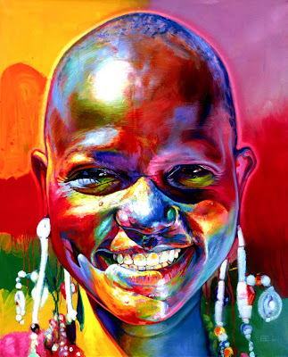closeup photo of smiling African American girl treated with a kaleidoscope of brilliant colors