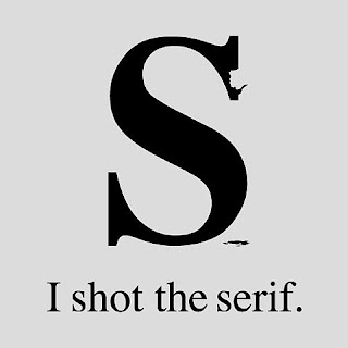 broken letter s with caption, I shot the serif
