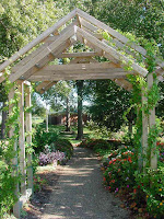garden glimpsed through archway