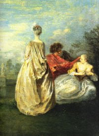 Painting of three women in long flowing dresses of eighteenth century