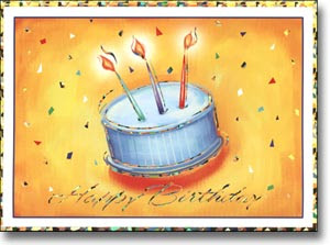 abstract birthday card with cake and greeting