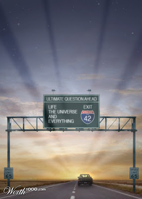 Fwy sign, ultimate question ahead, life the universe and everything, exit 42