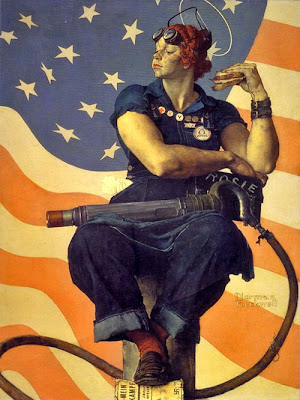 Original Rosie by Norman Rockwell, grimy, proud, strong, eating sandwich and holding riveter