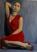 painting of a brunette woman in a red dress seated with her right arm over her head