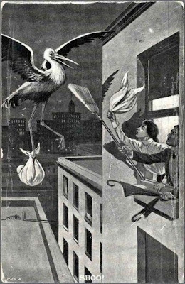 old post card of couple with broom and mop chasing off a stork carrying a baby